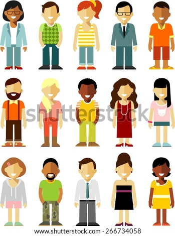 People characters avatars set in flat style isolated on white background - stock vector