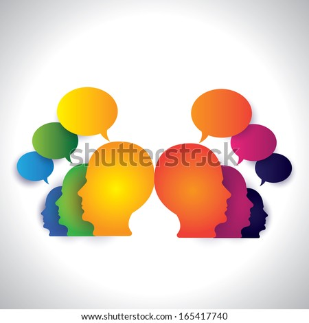people chatting, discussing on social media - concept vector. This abstract graphic can also represent executive team meeting, employees discussions, networking, community interaction, internet chat - stock vector