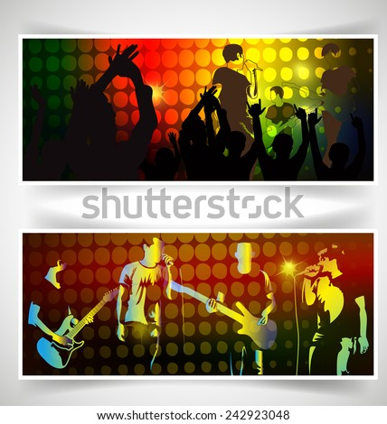 People cheering rock band musical performance  - stock vector