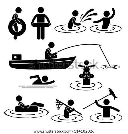 People Children Leisure Swimming Fishing Playing at River Water Stick Figure Pictogram Icon