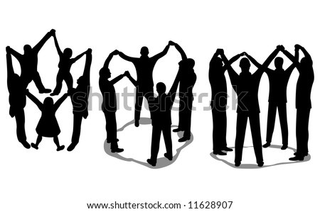 people circle silhouette vector - stock vector