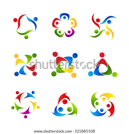 People Collaboration Logo Set. Colorful vector illustration of groups of people. Team, social concept icons.
