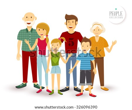 People collection: happy family group generation with dad mom, children and grandparents in flat style illustration. EPS10 vector. - stock vector