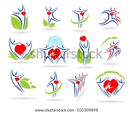 people collection medical icons - stock vector