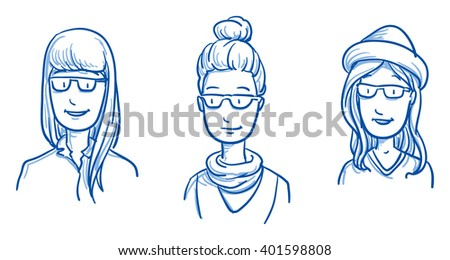 People collection WOMEN. Set of three happy young hipster girls in casual clothes,  expressing positive emotions. Hand drawn line art cartoon vector illustration. - stock vector