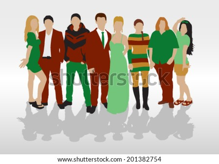 People Color Silhouettes Set - stock vector