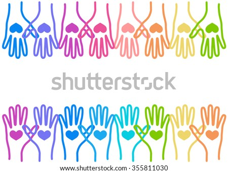 People colorful hands united with love to together. Illustration of teamwork, solidarity, friendship, partnership, communication, united, meeting