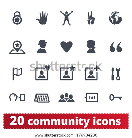 People community icons: vector set of signs for social network, application, user interface and web - stock vector