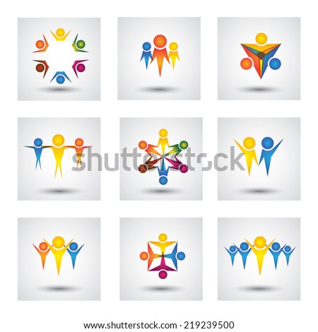 people, community, kids vector icons and design elements. This graphic also represents team & teamwork, leader & leadership, success & winning, group unity, employees & workers, children playing - stock vector