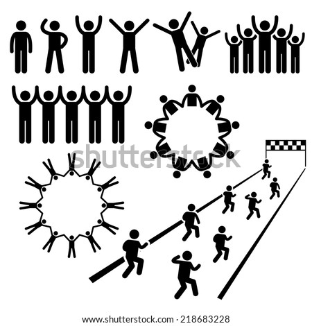People Community Welfare Stick Figure Pictogram Icons - stock vector