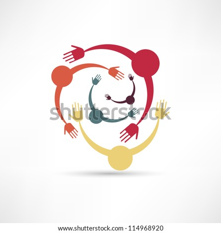 People Connected Symbol - stock vector