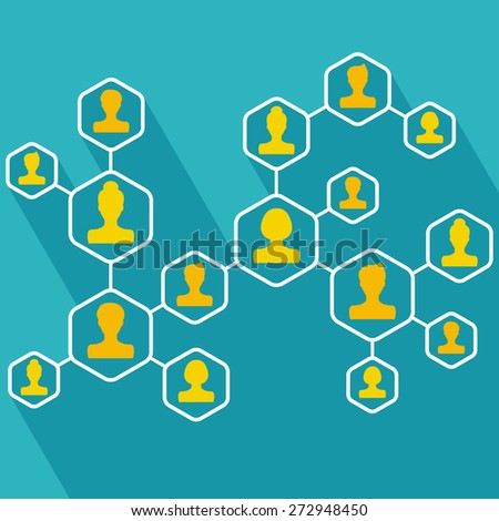 People connecting icon. Flat style. Vector illustration - stock vector
