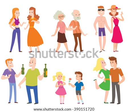 People couples, men, women, old men, boys, love set of characters flat vector illustration. Couples people. People happiness family couples. People relationships. - stock vector