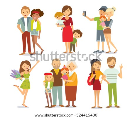 people, couples, parents with kids - stock vector