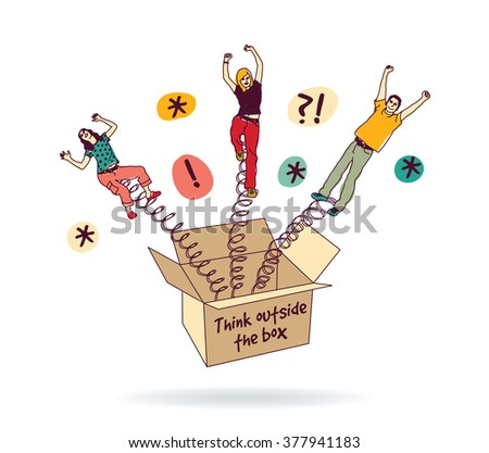 People creative team think ideas box isolate white. Color vector illustration. EPS8