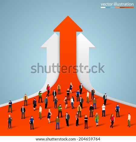 People crowd on the graph, Businessman of success, Arrow finance up, Arrows business profit info. Profit red arrow with people,  Vector illustration - stock vector