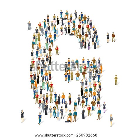People crowd. Vector ABC, letter G - stock vector