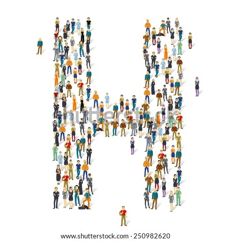 People crowd. Vector ABC, letter H - stock vector