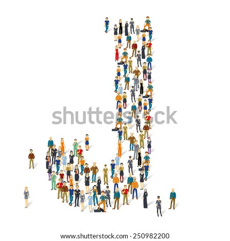 People crowd. Vector ABC, letter J