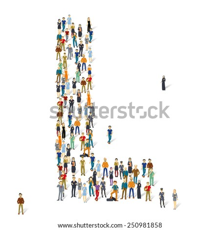 People crowd. Vector ABC, letter L - stock vector