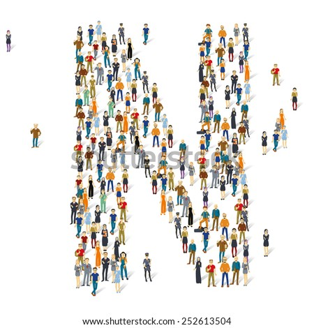 People crowd. Vector ABC, letter N - stock vector