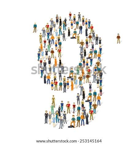 People crowd. Vector figures, 9 - stock vector