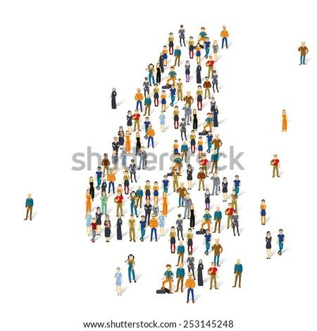 People crowd. Vector figures, 4 - stock vector