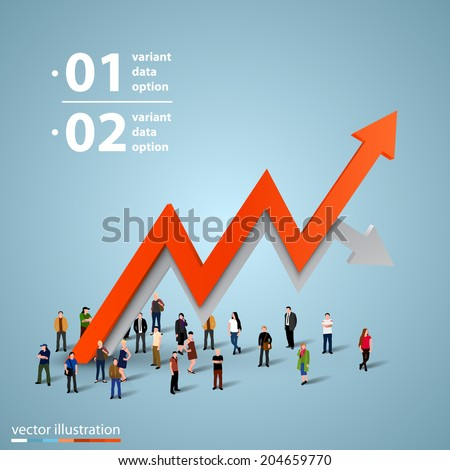 People crowd with a graph. Businessman of success, Arrows business tape art info. Profit red arrow with people,  Vector illustration