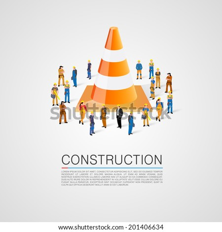 People crowd with traffic cone. Vector illustration - stock vector