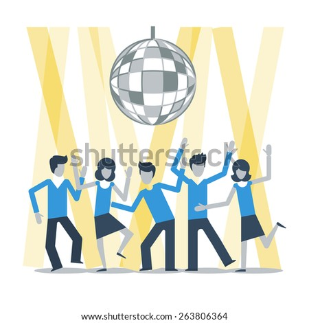 people dancing at a night club - stock vector