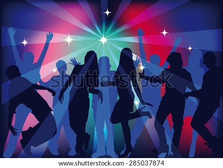 people dancing at a party, men and women dancing in a nightclub in the light of the laser beams, silhouettes of dancing people, vector illustration - stock vector