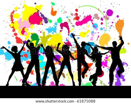 People dancing on colourful grunge background - stock vector