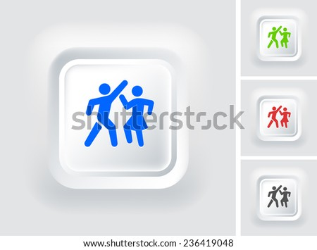 People Dancing on White Bevel Square Button