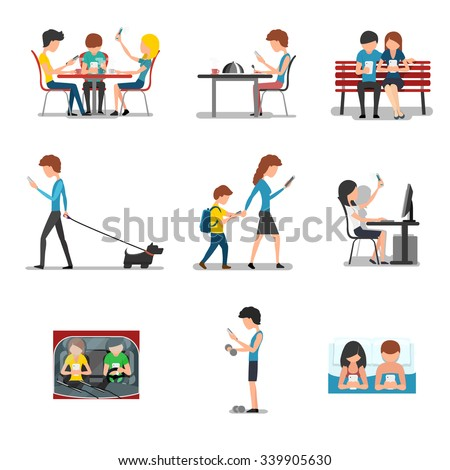 People different action use smartphone. Mobile device, social media and internet addiction. Networking and searching, playing and typing, chatting vector illustration - stock vector