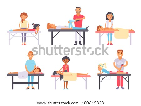 People different massage and health care people massage. Wellness treatment people body massage, lifestyle skin skin care face massage. Relaxing people massage different spa heath care vector. - stock vector