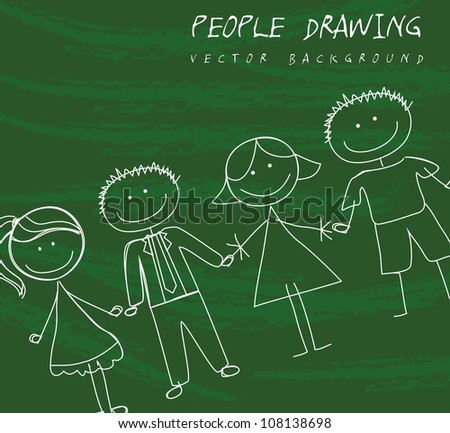 people drawing over green background. vector illustration