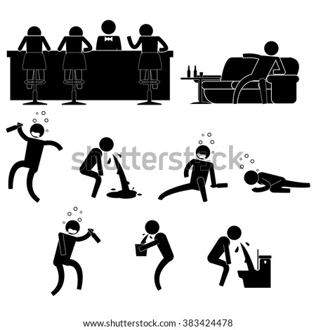 people drink too much in a bar and then wasted icon sign symbol pictogram vector