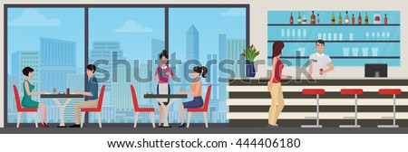 People eating in modern restaurant cafe. Interior with city view.  - stock vector