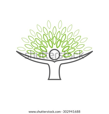 people embracing tree - eco lifestyle concept vector. This line icon also represents harmony, nature conservation, sustainable development, natural balance, development, healthy growth - stock vector