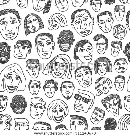 People emigrants faces seamless pattern  - stock vector