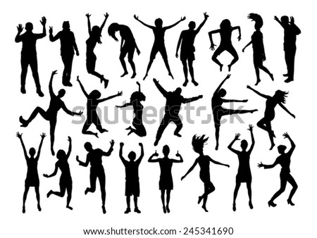 People Emotions Silhouettes Set - stock vector