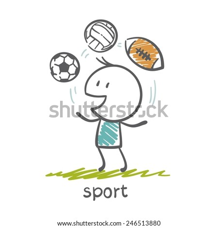people engaged in sports illustration - stock vector