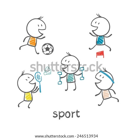 people engaged in sports illustration - Sports Drawing Pictures