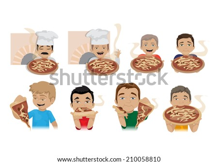 People Enjoy Eating Pizza Set - Isolated On White Background - Vector Illustration, Graphic Design Editable For Your Design  - stock vector