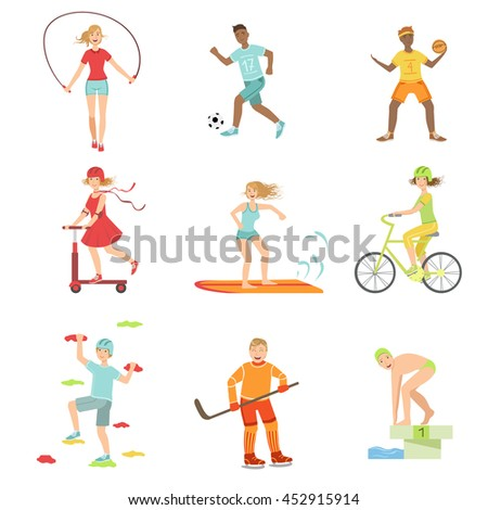 People Enjoying Physical Activities Illustrations - stock vector