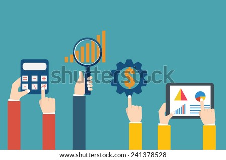 People examining economic statistic. Financial examiner. Vector illustration. - stock vector