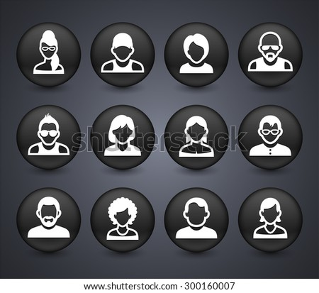 People Face Set on Black Round Buttons