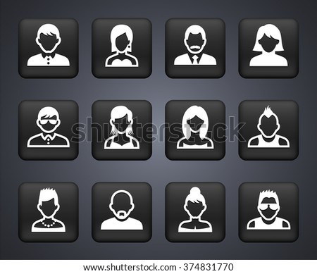 People Face Set on Black Square Buttons