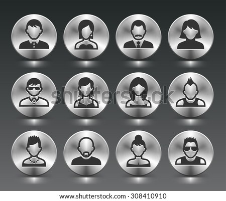 People Face Set on Silver Round Buttons