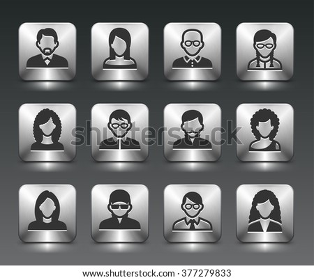 People Face Set on Silver Square Buttons